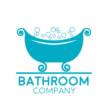 Vector sign retro bathtub with soap bubbles