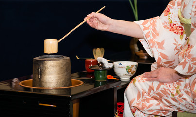 Japanese tea ceremony is perfomed by tea master (shallow DOF)