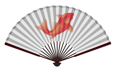 Ancient Chinese Fan with Fancy Carp