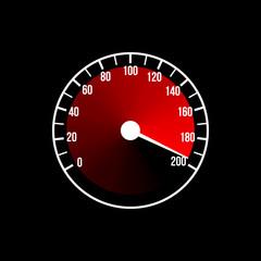 Red speedometer illustration design on a black background. Vector art.