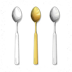 Set realistic sketch spoons . Cutlery for design. Tea and tablespoons. Spoon handmade to create a design. Gold and silver spoons . Bright macaroon set in sketch style.
