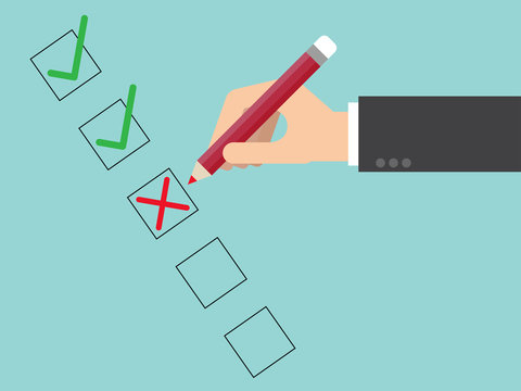 Poor quality checklist close up. Flat design for business financial marketing banking advertising web concept cartoon illustration.