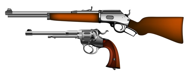 ancient pistol and rifle