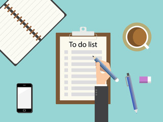 To do list clipboard. Flat design for business financial marketing banking advertising web concept cartoon illustration.