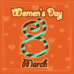 Set March 8 Women's Day greeting card. 1_Vector illustration