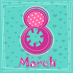 Set March 8 Women's Day greeting card. 3_Vector illustration