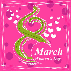Set March 8 Women's Day greeting card. 4_Vector illustration