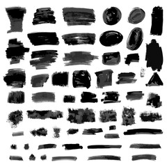 Black brush strokes set