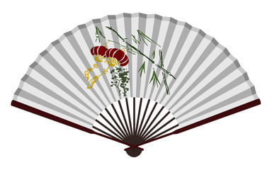 Ancient Chinese Fan With Traditional Lantern
