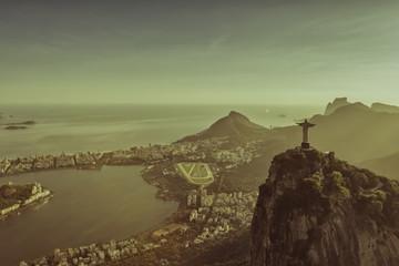 Rio de Janeiro, Brazil : Aerial view of Christ and Ipanema Beach