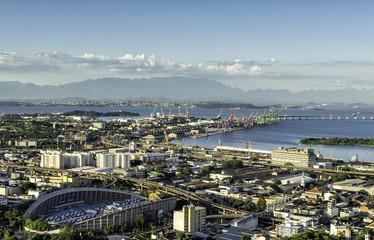 Aerial view of Rio de Janeiro Port with cranes, Brazil