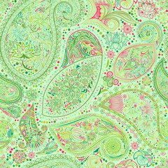 Paisley vintage floral motif ethnic seamless background. Abstract lace pattern. Ability to edit the colors, without losing seamlessly. Hand drawing colorful wallpaper. EPS-8 vector texture.