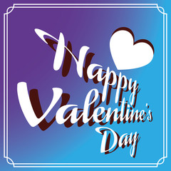 Happy Valentine's Day Greeting Card. Big White Heart and White Congratulation Text on Blue Purple Gradient Backdrop. Digital background vector illustration.