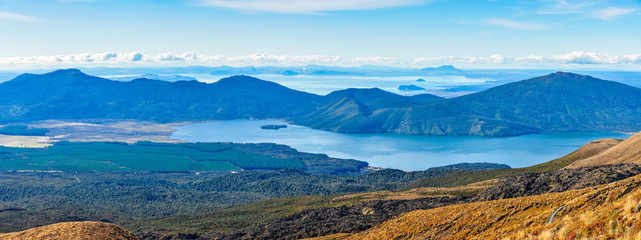 View of Lake Taupo and Lake Rotoaira in New Zealand