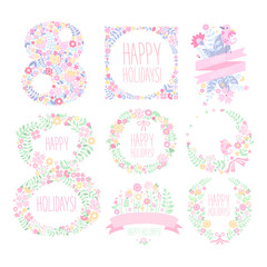 Greeting Card with March 8. Vector Illustration Set