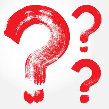 Set of 3 original hand-painted question symbol