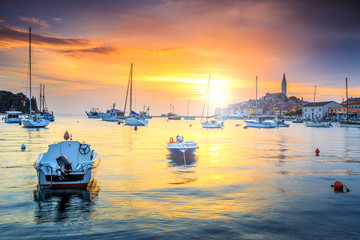 Magical sunset with Rovinj harbor,Istria region,Croatia,Europe Wall mural