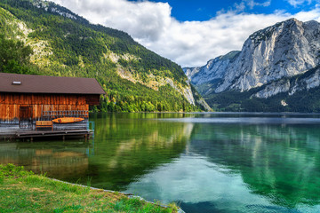 Wall Mural - Wooden boathouse on the lake,Altaussee,Salzkammergut,Austria,Europe