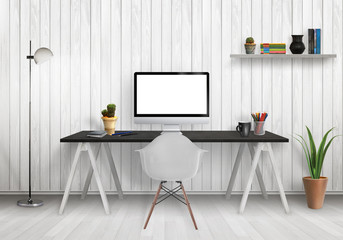Modern office interior with computer on desk, plants, lamp, chair, shelf, books, wooden wall and floor.