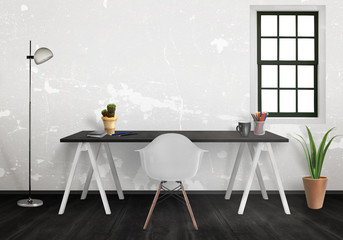 Workplace with free space for text or poster. Interior with desk, lamp, plants, chair. White wall with window and black floor.