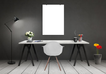 Poster mock up in office interior with desk, lamp, plants, chair. Black wall and white wooden floor.