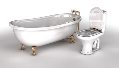 Bath and toilet. 3d illustration