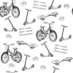 seamless pattern of hand drawn baby bike, scooter, wave board an