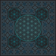 circle outline flower of life fractal sacred geometry.