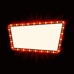 Retro light banner. Vector glowing theater cinema Sign. Retro red shining light billboard