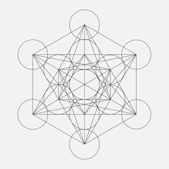 Metatron's Cube. Flower of life. Vector Geometric Symbol isolated. Sacred Geometry