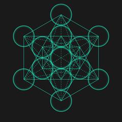 Metatron's Cube. Flower of life. Vector Geometric Symbol isolated. Sacred Geometry