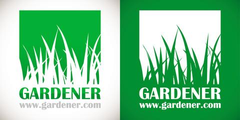 logo paysagiste pelouse herbe vert