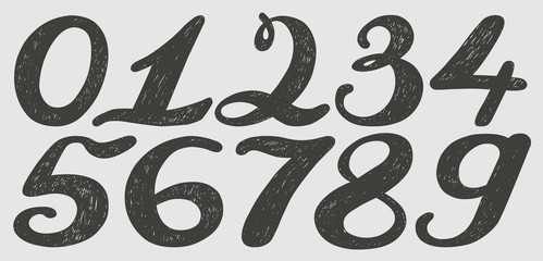 Numbers set in hand drawn calligraphy style.