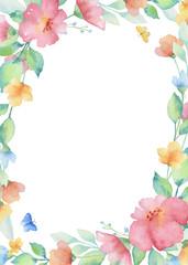 Watercolor rectangular frame