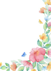 Watercolor wreath of colorful flowers.