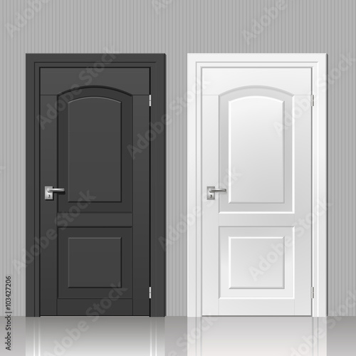 Door in the interior. Two doors in the black and white room interior vector : two doors - pezcame.com