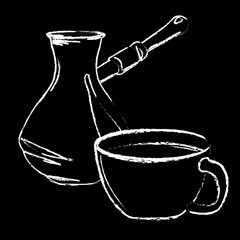 White chalk hand drawn coffee cup and turkish coffee pot on black background vector illustration