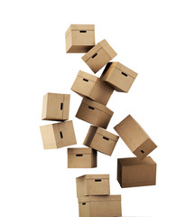 Flying a cardboard box isolated on white background. 3d renderin