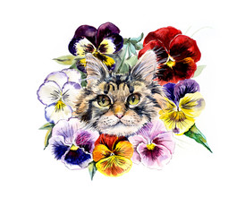 Cat with flowers. Wreath from violets. Flower backdrop. Decoration with kitten & flowers. Bouquet of  violet. Illustration. Hand drawn watercolor illustration.