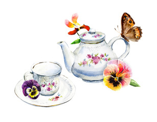 Tea Time. Butterfly and violets. Invitation to tea drinking. Watercolor hand drawn illustration.