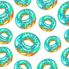 Seamless pattern with blue iced donuts on white background