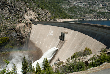 O'Shaughnessy Dam at Hetch Hetchy Reservoir in Yosemite National Park. The source of water for San Francisco, CA.