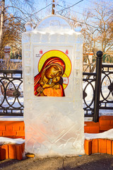 Irkutsk, Russia, Icon of ice near the Orthodox church