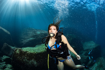 Beaytiful Latina Mexican Diver underwater