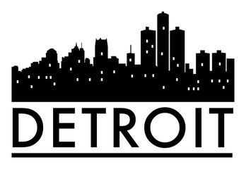 Abstract skyline Detroit, with various landmarks