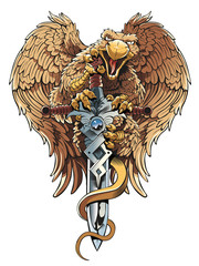 Griffon with sword. Heraldic design element.