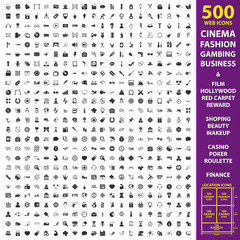 Cinema, fashion, gambing set 500 black simple icons. Business, film, hollywood  icon design for web and mobile.