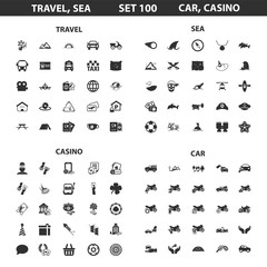 Travel, sea, casino set 100 black simple icons. Car, hotel icon design for web and mobile.
