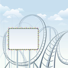 Rollercoaster with placard in park