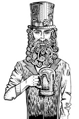 Leprechaun with beer, engraving